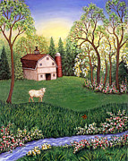 Sheep Art - Old White Barn by Linda Mears