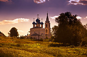 Evening Light Prints - Old White Church. Beautiful Evening at Russian Countryside Print by Jenny Rainbow