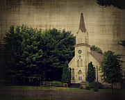 Country Church Prints - Old White Church Print by Perry Webster