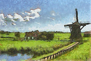 Fields Digital Art Posters - Old Windmill Poster by Ayse T Werner