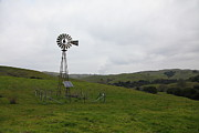 Mills Photos - Old Windmill on Landscape at Fernandez Ranch California - 5D21049 by Wingsdomain Art and Photography