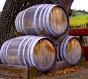 Barrels Framed Prints - Old Wine Barrels On An Older Truck Framed Print by Barbara Snyder