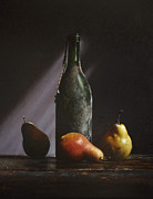 Realist Prints - Old Wine Bottle Print by Larry Preston