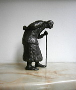 Realism Sculpture Metal Prints - Old woman Metal Print by Nikola Litchkov