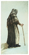 Impressionism Drawings Prints - Old Woman Seen from Behind Print by Vincent van Gogh