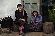 Old Women In Doorstep  Print by Yavuz Sariyildiz