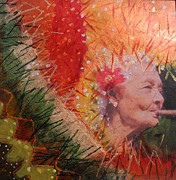 Landscape-like Art Paintings - Old Women Series  Smokin by Elizabeth Falconer