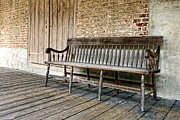 Historic Home Framed Prints - Old Wood Bench Framed Print by Olivier Le Queinec