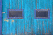 Blue Barn Doors Photos - Old Wood Blue Garage Door by James Bo Insogna