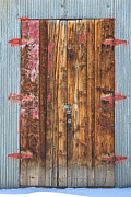 Door Hinges Posters - Old Wood Door With Six Red Hinges Poster by James Bo Insogna