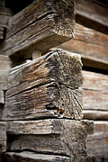 Vintage Log Houses Prints - Old Wood Print by Frank Tschakert