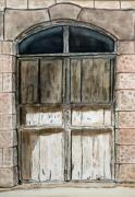 Jerusalem Paintings - Old Wooden Door. by Shlomo Zangilevitch