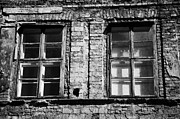 Old Krakow Framed Prints - Old Wooden Double Layer Glazing In Old Red Brick Building With Plaster Facade Removed For Renovation Kazimierz Krakow Framed Print by Joe Fox