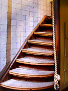 Wooden Stairs Prints - Old wooden stairs Print by Michael Edwards