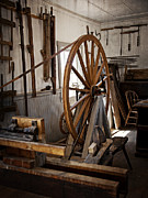 Treadle Prints - Old Wooden Treadle Lathe and Tools Print by Lee Craig