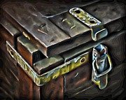 Hardware Posters - Old Wooden Trunk Hardware 4 Poster by Walt Foegelle