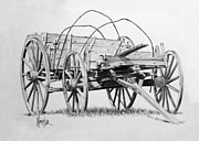 Wagon Drawings Framed Prints - Old Wooden Wagon Framed Print by Gaylon Dingler