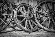 Wagon Wheel Metal Prints - Old Wooden Wheels Metal Print by Erik Brede