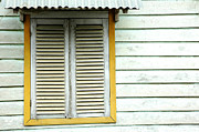 Cabin Window Framed Prints - Old Wooden Window Framed Print by Antoni Halim