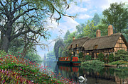 Houseboat Framed Prints - Old Woodland Cottage Framed Print by Dominic Davison