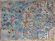 Vintage Map Photos - Old World Art Map  by Inspired Nature Photography By Shelley Myke