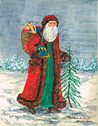 Father Christmas Paintings - Old World Father Christmas 5 by Barbel Amos