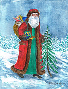White Beard Metal Prints - Old World Father Christmas4 Metal Print by Barbel Amos