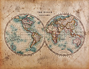 Parchment Framed Prints - Old World Map in Hemispheres Framed Print by Richard Thomas