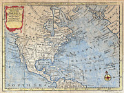World Map Canvas Photos - Old World Map of North America by Inspired Nature Photography By Shelley Myke