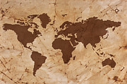 Old Map Posters - Old World map on creased and stained parchment paper Poster by Richard Thomas