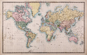 Old Map Photo Posters - Old World Map on Mercators Projection Poster by Richard Thomas