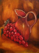 Old Pitcher Painting Prints - Old World Pitcher and Grapes Print by Leni Tarleton
