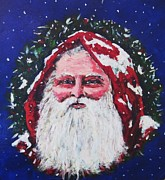 Claus Mixed Media Posters - Old World Santa Poster by Andrea Flint Lapins