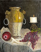 Grapes Painting Posters - Old World Vase Poster by Jeanene Stein