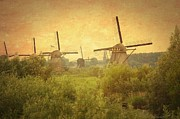 Nederland Posters - Old World Windmills Poster by Carol Groenen