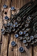 Wooden Prints - Old worn typewriter keys Print by Garry Gay