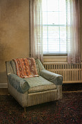 Venetian Blinds Prints - Old Wprn Chair by Window Print by Jill Battaglia