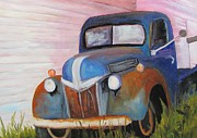 Rusty Truck Paintings - Old Wreck of a Truck by Barbara Haviland
