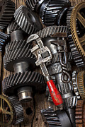 Handcraft Prints - Old wrenches on gears Print by Garry Gay