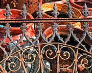 Kathleen K Parker Metal Prints - Old Wrought Iron Gate and Pots Metal Print by Kathleen K Parker