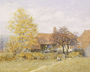 European Artwork Metal Prints - Old Wyldes Farm Metal Print by Helen Allingham