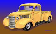 New Mexico Drawings Prints - Old Yeller Pickem Up Truck Print by Jack Pumphrey