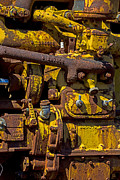 Motor Metal Prints - Old yellow motor Metal Print by Garry Gay