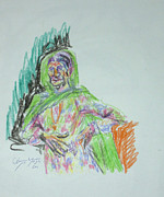 Live Art Drawings Framed Prints - Old Yemenite Woman Framed Print by Esther Newman-Cohen