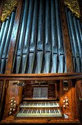 Carved Framed Prints - Olde Church Organ Framed Print by Adrian Evans
