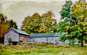 Old Mixed Media Metal Prints - Olde Homestead on RT 105 Metal Print by Deborah Benoit