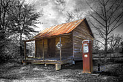 Old Cabins Photo Posters - Olden Days Poster by Debra and Dave Vanderlaan