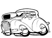 Custom Ford Drawings Metal Prints - Olds Beach Boy Metal Print by Big Mike Roate