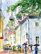 Rain Painting Framed Prints - Oldtown Tallinn Estonian Framed Print by John D Benson