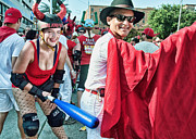 Baseball Art Print Photos - Ole at the Running of the Bulls in New Orleans by Kathleen K Parker